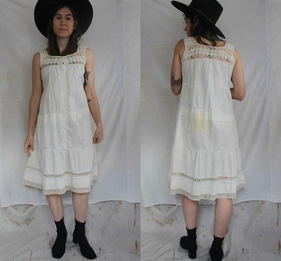 Antique Small White Cotton Sun Dress Sleeveless Cr