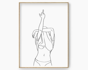 continuous line digital download one line erotic one line drawing nude figurative art I Put A Spell On You Minimalism wall art