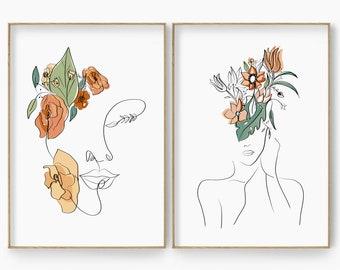 Woman Line Art Print Set of 2, Woman Line Drawing Wall Art, Living Room Wall Art, Woman Line Draw Illustration, Woman Line Art Poster Set