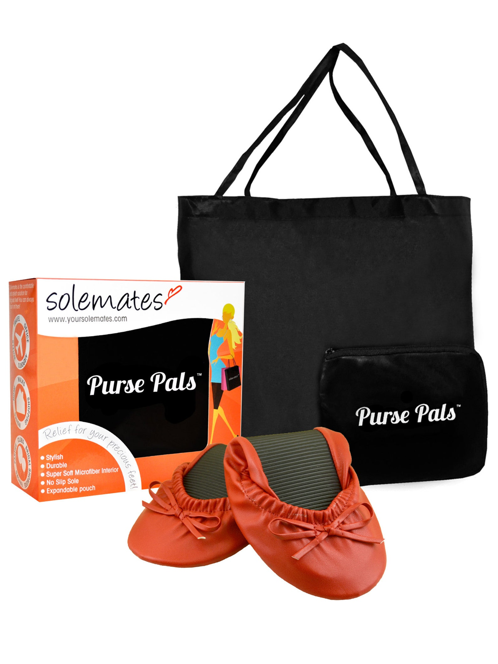 solemates purse pals foldable travel ballet flats for women with compact carry bag and soft microfiber interior for maximum comf