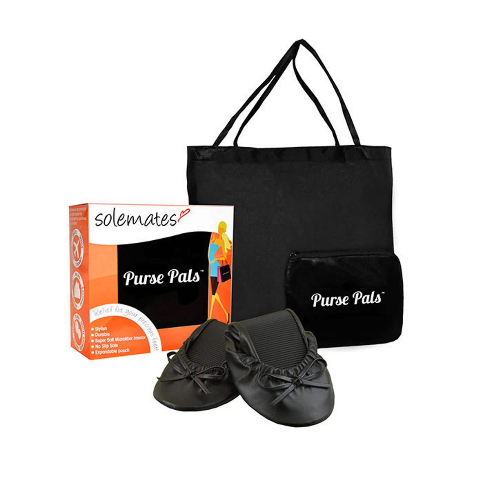 416ffd387 Solemates Purse Pals Foldable Travel Ballet Flats For Women With Compact Carry  Bag And Soft Microfiber ...
