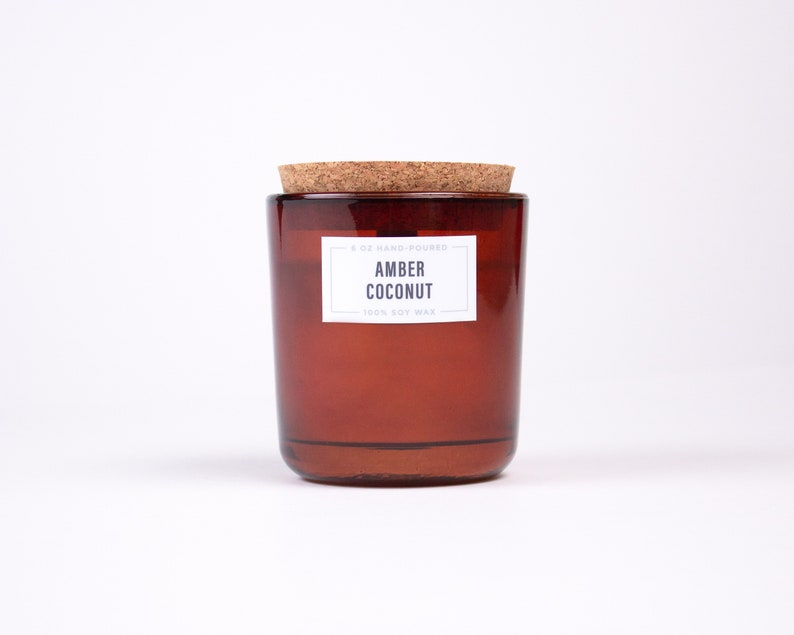 100/% Soy Wax Recycled Glass Candle with Wood Wick Amber Coconut