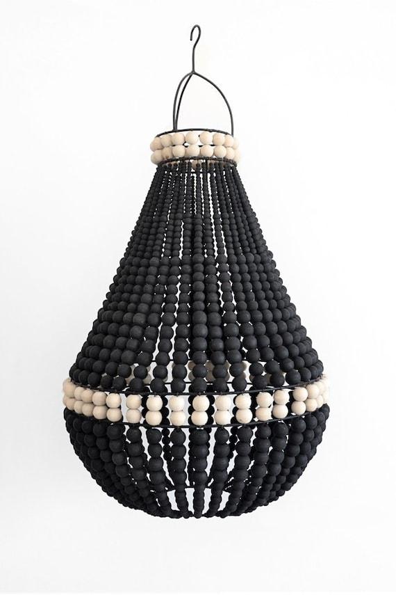 Black Wooden Bead Chandelier