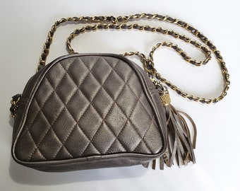 1c278fbe6c1d Quilted Chain Strap Metallic Leather Crossbody Bag with Tassel
