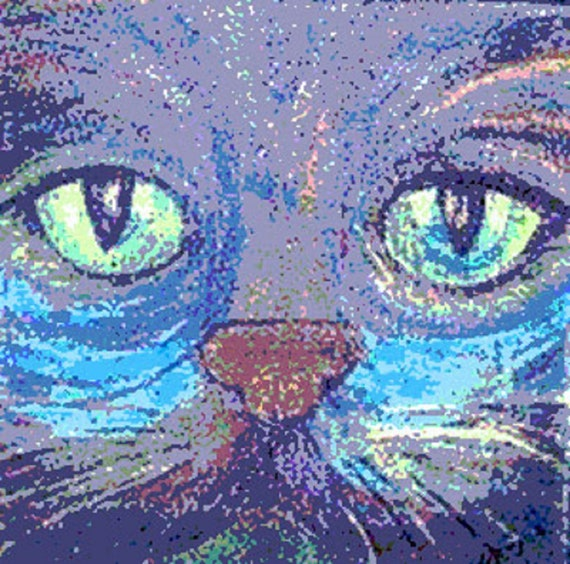 Pussy Cat Kitten Blue Eyes Abstract Canvas Wall Art Picture Print