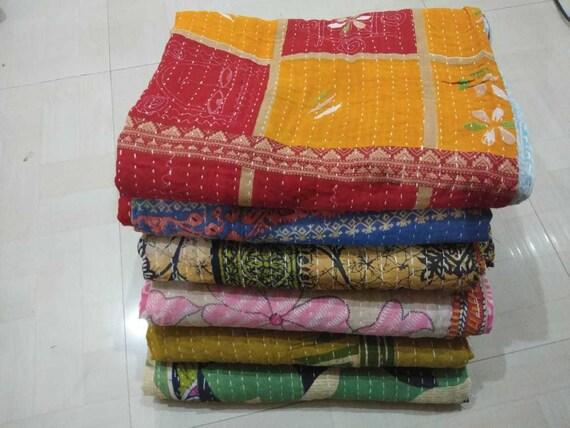 Wholesale Lot 5 Pc Kantha Quilt Cotton Handmade Vintage Bedspreads Boho Blanket