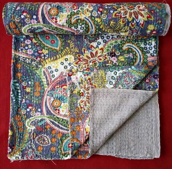 Ikat Kantha Quilt Paisley Kantha Quilt Queen Kantha Bedspread Bohemian Kantha Bedding