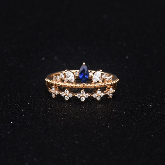 Pear Shaped Bridal Set Marquise Sapphire Engagement Ring Etsy
