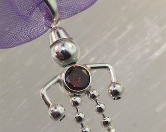 Sterling Silver - BEAD BABY Charm - January, Garnet Red Round Stone