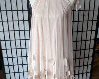 Blush pink modern retro neck tie dress by Rue, size XS