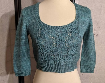 """Hand knit cropped sweater pullover in tonal blue green teal, small 32"""" bust"""