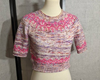 """Hand knit short sweater pullover in pinks, multicolored speckles, and cool toned purples size small 35"""" bust"""