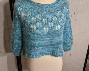 """Hand knit cropped sweater pullover in blue silk mohair blended yarn, size small to medium 38"""" bust"""