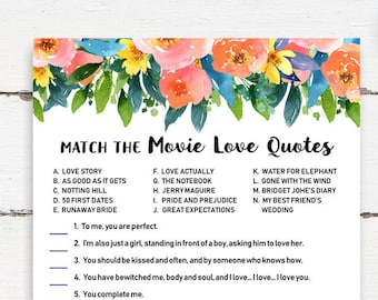 Match The Movie Love Quotes Game Gold Bridal Shower Game Etsy