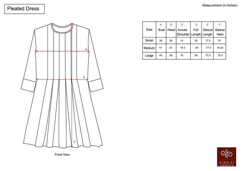 organic cotton hand emboridery pleated dress Blue check organic cotton dress with hand emboridery