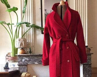 c56b891a Elegant vintage coat period 80 women red wool belted waist T 42/44