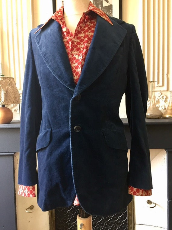 Vintage 70s blazer for men in midnight blue velvet