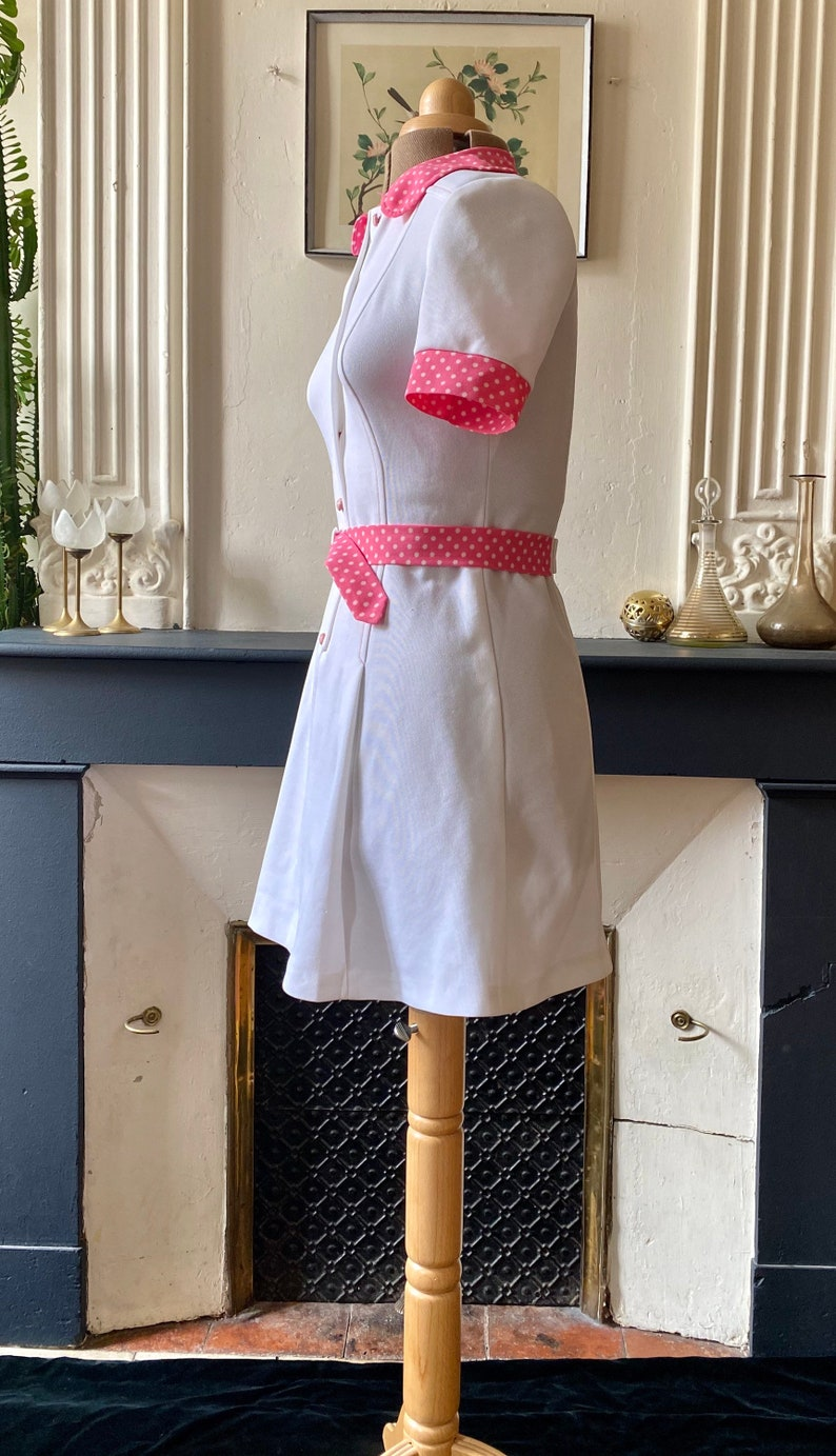 Vintage mods dress 60s white pink polka dots T 38