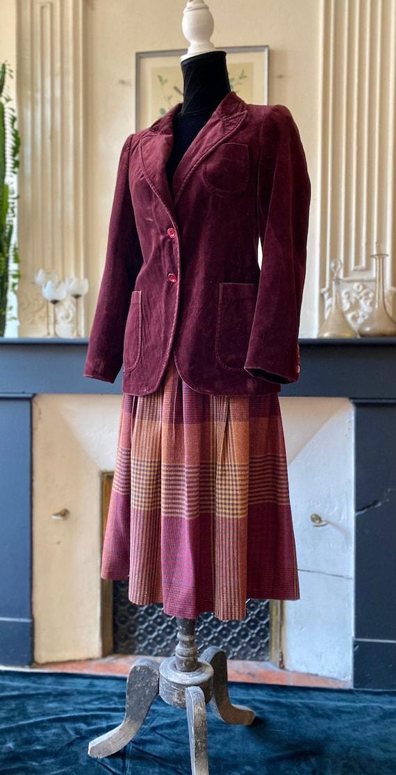 Veste en velours femme vintage 70s couleur lie de