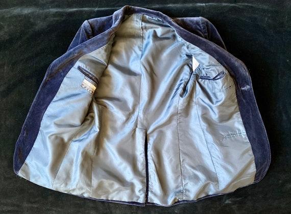 Vintage 70s blazer for men in midnight blue velve… - image 9