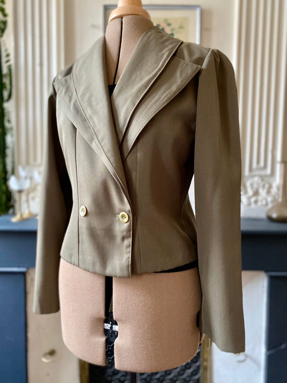 Vintage women's jacket 80s khaki with puffed shoul