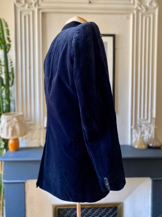 Vintage 70s blazer for men in midnight blue velve… - image 5