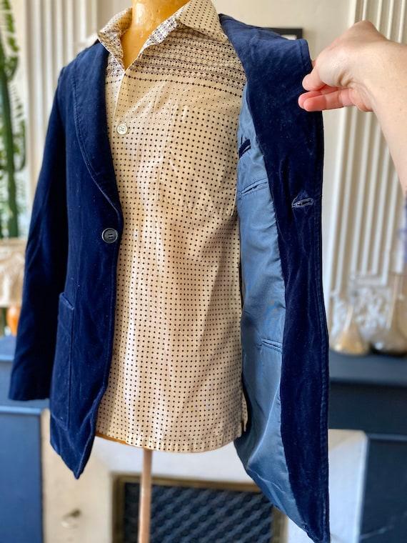 Vintage 70s blazer for men in midnight blue velve… - image 3