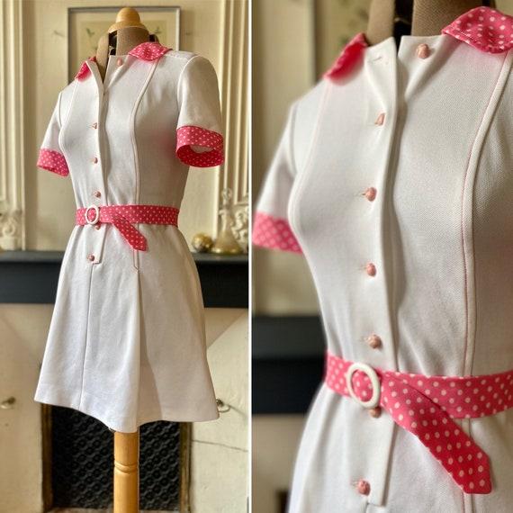 Vintage mods dress 60s white - pink polka dots T 3