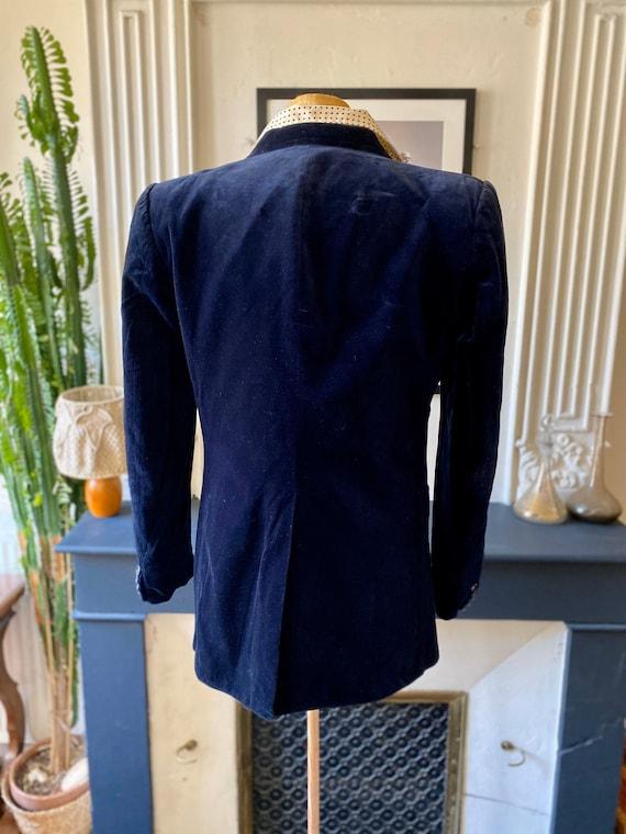 Vintage 70s blazer for men in midnight blue velve… - image 6