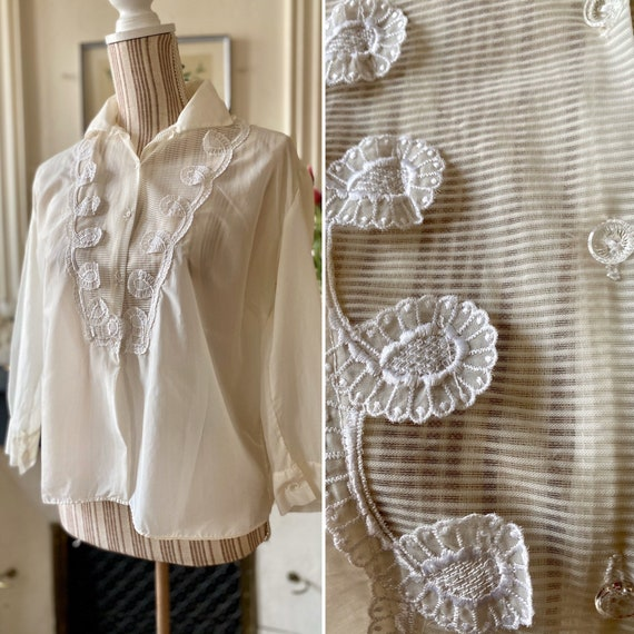 Vintage blouse 60s translucent woman with striped