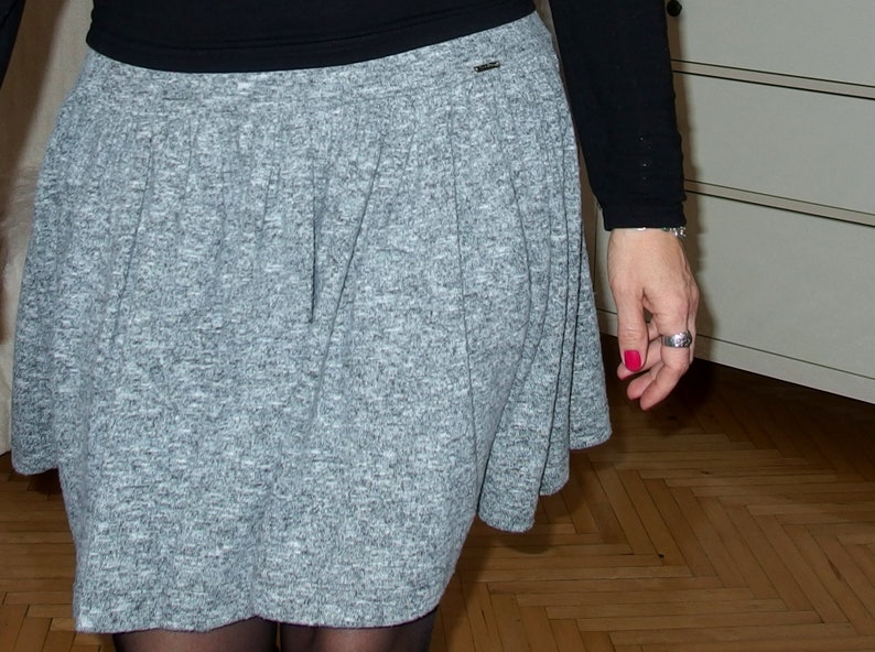 ACRI Skirt with a frill with a nice fabric stitching fabric size 36-52 S - 6XL yoke