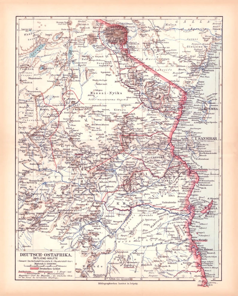 Map Of Germany Circa 1900.German East Africa Map Lithograph Circa 1900 Etsy