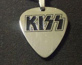 d5df2e284c16c7 Handmade Stainless Steel Guitar Pick KISS Pendant Necklace Medallion + Gift  (black leather cord)