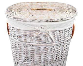 Laundry basket grazing oval wash white 01WwOval-b 46x34 h.55