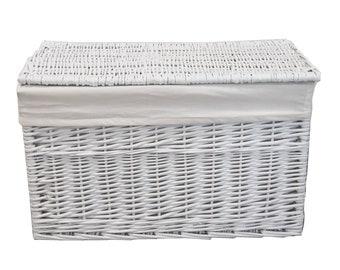 Laundry Basket Laundry Chest Wicker White Rectangular Cover Lid 62x35x37cm