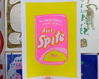 Bitter Lemon Diet Spite Cute Fruit Lemonade Drink Can Spite Neon Pink A4 Risograph Print