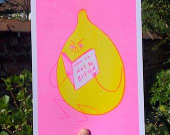 Bitter Lemon SUMMER NEON EDITION  Cute Fruit Neon Pink Dotty A4 Risograph Print