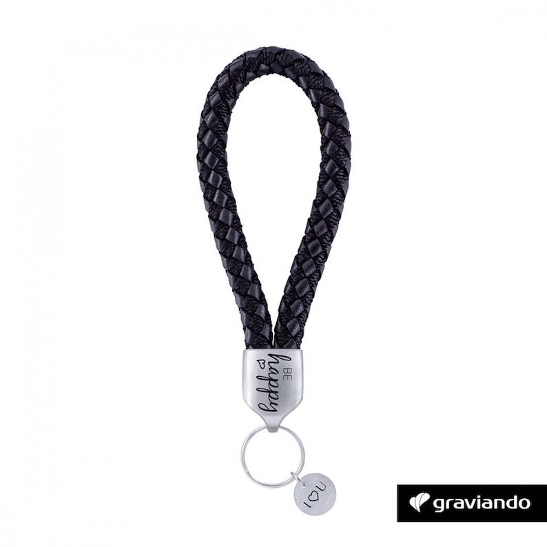 leather braided black Glossy Keychain with engraving