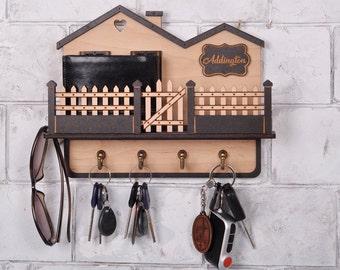 Custom Wood Key Holder For Wall Personalized Key Holder Key Hanger for Wall  Wall Key Holder 30th birthday gift entryway organizer 2905db5f8