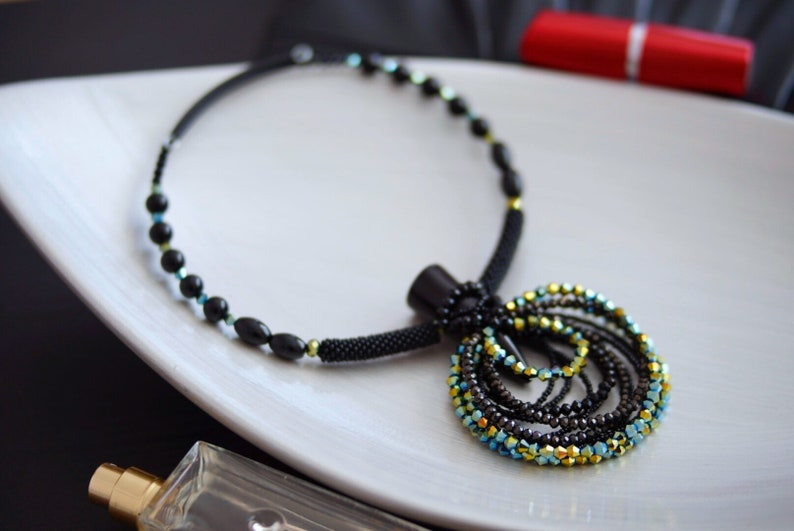 Chunky statement black green necklace birthday gift Big bold crystal necklace Contemporary modern beaded necklace Bohemian bib necklace