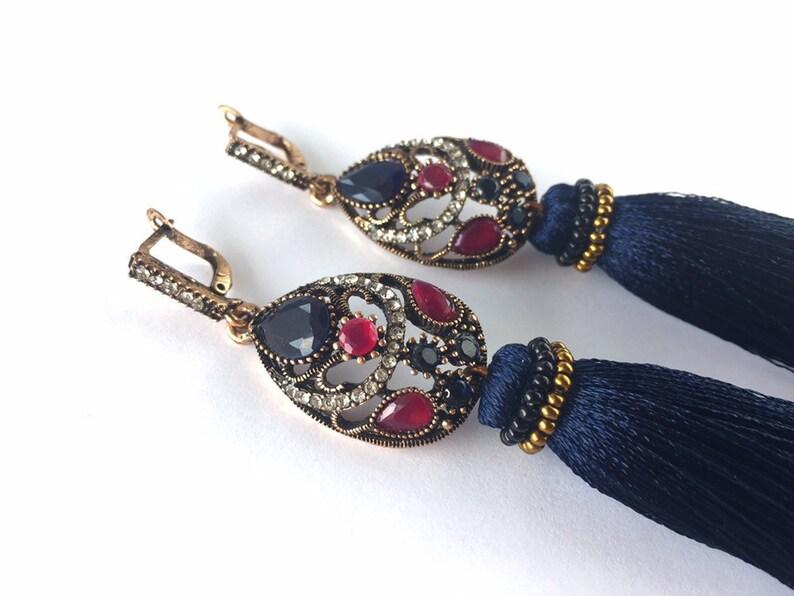 Navy tassel earrings choker Navy lace choker necklace Bohemian long tassel earrings Dainty delicate crystal choker Navy wedding jewelry set