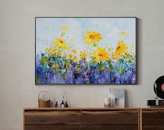 Abstract floral framed Painting On Canvas original art flower painting Extra Large blue and yellow palette knife heavy texture Wall Pictures