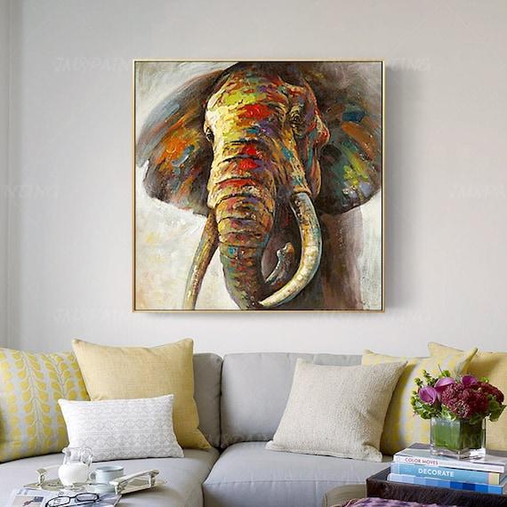 Framed Painting Original Animal Art, Elephant Decor For Living Room