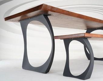 "409 Cleo Table Legs (28.5""H)   Handmade Metal Legs (set of 2 pcs)   Desk Legs, Dining Table Legs, Furniture Legs   FLOWYLINE DESIGN"