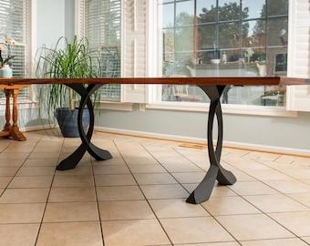 "418 Curva Table Legs (28.5""H)   Handmade Metal Legs (set of 2 pcs)   Desk Legs, Dining Table Legs, Furniture Legs   FLOWYLINE DESIGN"