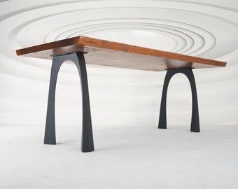 "419 Nura Table Legs (28.5""H)   Handmade Metal Legs (set of 2 pcs)   Desk Legs, Dining Table Legs, Furniture Legs   FLOWYLINE DESIGN"