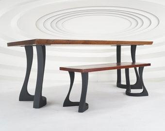 "436 Uzar Table Legs (28.5""H)   Handmade Metal Legs (set of 2 pcs)   Desk Legs, Dining Table Legs, Furniture Legs   FLOWYLINE DESIGN"