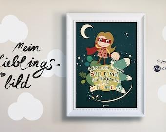 big sister poster, print painting, art print, print, superhero