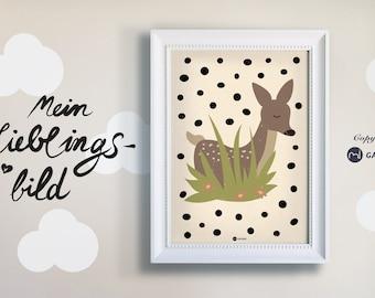 Poster, Nursery Picture, Print, Deer