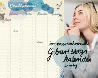 Birthday calendar, everlasting, annual calendar, calendar perennial, illustration, illustrated